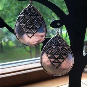 Jewelry - Silver/Black Aztec Print Earrings